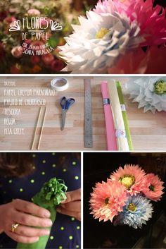 Diy: Flores de papel são uma ótima opção para decoração de festas e, porque não, em casa também. São divertidas, charmosas e criativas, além de diferentes. Paper, Ideas, Fiestas, Creativity, Paper Flowers, Thoughts