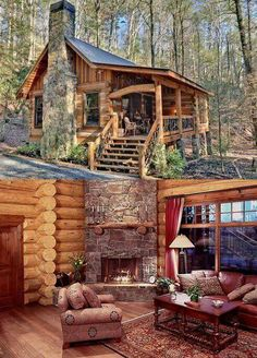 Amazing Ideas to make your ideal log cabin in the mountains or next to a lake. A peaceful environment to get away from our crazy life. Tyni House, Tiny House Cabin, Cabin Style Homes, Log Cabin Homes, Tiny Cabins, Cabins And Cottages, Log Cabins, Cabins In The Woods, House In The Woods