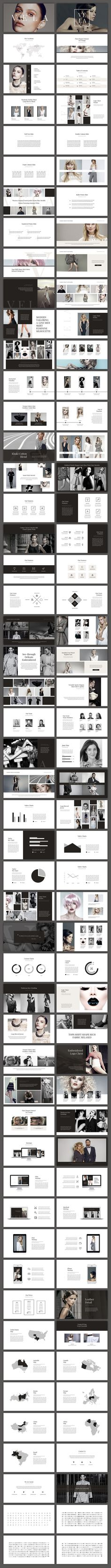 An elegant fashion business slide presentation template. Great for pitch decks, annual reports, look books, and other presentations. Includes tons of layouts with classic neutral color themes.