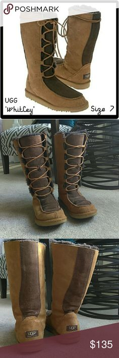 Tall Brown UGG Boots Size 7 'Whitely' UGG Tall Lace Up Boots. Size 7. UGG Style: Whitley. UGG S/N 5230. Chestnut & chocolate brown. Features front tie closure. 11.75in boot height (not including heel). Genuine leather & sheepskin. IN AMAZING CONDITION! Very minimal signs of wear! Looks so cute with leggings & a mini skirt! Super comfy and warm! Feel free to ask any questions. MAKE ME AN OFFER! FREE GIFT with every purchase! Bundle for further discounts. UGG Shoes Winter & Rain Boots