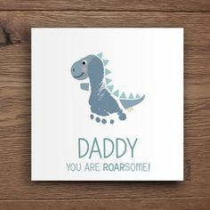 Kids Fathers Day Crafts, Fathers Day Cards, Crafts For Kids, Daycare Crafts, Toddler Crafts, Baby Footprint Art, Handprint Art, Baby Handprint Ideas, Dinosaur Cards