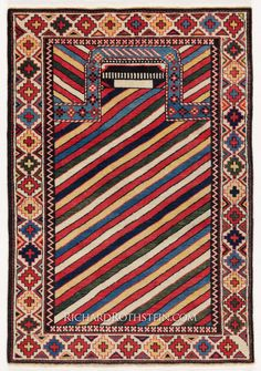"""Caucasian Gendje Rug: Gendje prayer Rug Size: 3' 2"""" x 4' 6"""""""