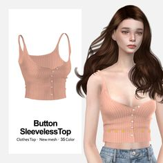 ButtonSleevelessTop Clothes Top New mesh All LODs 35 Color Plz, Don't re-upload my CC Link 1 - Downl Sims 4 Toddler Clothes, Sims 4 Mods Clothes, Sims 4 Clothing, Sims 4 Cc Skin, Sims Cc, Sims 4 Cas Mods, Vêtement Harris Tweed, Cc Top, Sims 4 Dresses
