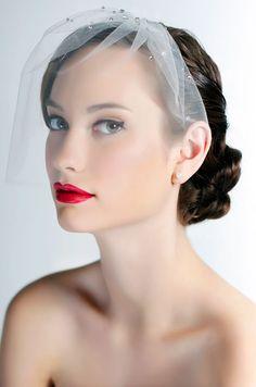 Lightly jeweled blusher veil with Swarovski crystalsPaula Veil by Sara Gabriel. See more bridal fashion & beauty: http://ccwed.me/KIp6ZC