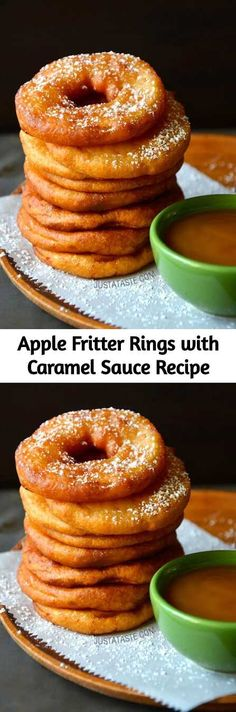 Apple Fritter Rings with Caramel Sauce! A great treat for a cold day that even the kids will love. #apples #caramel #fall Apple Recipes, Fall Recipes, Gelato, Just Desserts, Dessert Recipes, Homemade Caramel Sauce, Fried Apples, Apple Fritters, Sandwiches