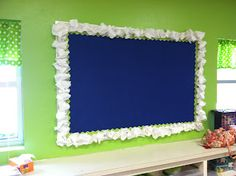 scrunchy bulletin boards- could be really cute with coffee filters