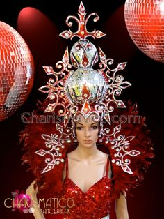 Charismatico Dancewear Store - CHARISMATICO Matching red and silver Drag Queen Headdress and backpack collar, $240.00 (http://www.charismatico-dancewear.com/charismatico-matching-red-and-silver-drag-queen-headdress-and-backpack-collar/)