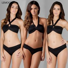 LEMOCHIC 2017 hot selling newest women high neck swimsuit high quality maillot sexy triangle swimwear hot-selling high waist