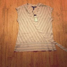 BCBG short sleeve top Light and classy deep v neck top. Grey tones accented w/ hints of yellow. I'm way too small for this top but always kept it b/c I spent so much money on it  BCBGMaxAzria Tops