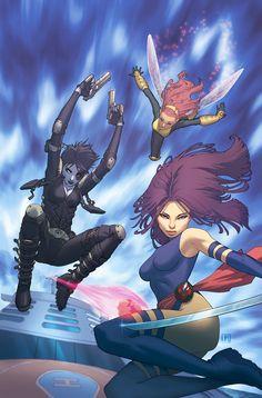 Psylocke, Domino, & Pixie by Jorge Molina