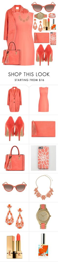 """""""February colour challenge - Coral"""" by asnaate ❤ liked on Polyvore featuring American Vintage, Diane Von Furstenberg, Prada, Jessica McClintock, Marc Jacobs, Dorothy Perkins, Kenneth Jay Lane, Olivia Pratt, Yves Saint Laurent and Ruby Rd."""