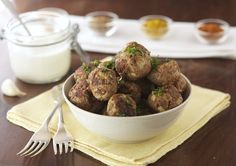 Indian Style Meatballs with Roasted Garlic Cream