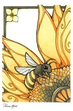 Art Nouveau Style Bee by KiriMoth- ink, watercolor, and colored pencil. The lines, colours and simplicity of the art nouveau style are the reasons why I studied it during GCSE Art Art And Illustration, Bee Drawing, I Love Bees, Bee Art, Bee Happy, Bees Knees, Queen Bees, Mellow Yellow, Art Projects