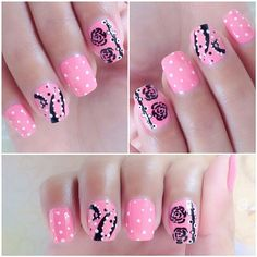 Pastel Pink Floral Nails With Polka Dots and Roses!