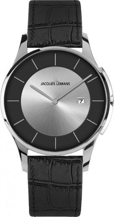 Jacques Lemans 1-1777F Men Watch Silver/Black Dial Genuine Anti-Allergic Leather Strap