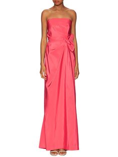 Silk Strapless Side Gathered Gown by Carolina Herrera at Gilt