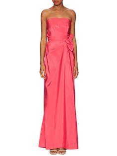 Silk Strapless Side Gathered Gown by Carolina Herrera at Gilt