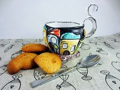 Handmade teacup for your poetic and coloured teatime.