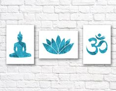 Yoga Watercolor Wall Art Print Set of 3 - Modern Home Decor - Buddha Ohm Symbol Lotus Flower Giclee Art Poster Set of Three Wall Art Sets, Diy Wall Art, Wall Art Prints, Art Therapy Projects, Street Art Photography, Gold Watercolor, Wall Art Pictures, Texture Painting, Mandala Art