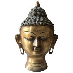 Vintage Brass Buddha Head ($300) ❤ liked on Polyvore featuring home, home decor, figurines, buddha statues, brass home accessories, buddha head statue, head statue and vintage figurines