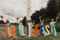 Colourful, Glastonbury-inspired festival wedding at Southover House in Dorset. Iconic ribbon tower, wedding pizza, and an after hours basement disco! Wedding Flags, Marquee Wedding, Wedding Ribbons, Wedding Colors, Wedding Signs, Summer Wedding Decorations, Wedding Summer, Dream Wedding, Festival Decorations