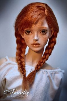 "Cosplay Anna (""Frozen"") natural angora wig for BJD"