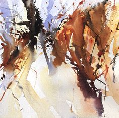 Autumn Undergrowth, Semi abstract watercolour, expressive watercolour, wet into wet watercolour, by Adrian Homersham. http://adrianhomersham.co.uk/