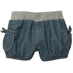 Pull-On Woven Denim Shorts