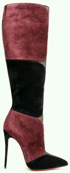 Black and suede Louboutin boots
