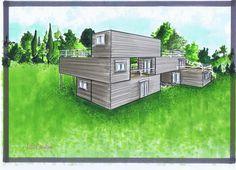 Cette maison originale est faite de 6 containers, 5 de 6m et 1 de 12m. Sa surface intérieure est de 96m². Sa surface de terrasse est de 68m², il y a trois terrasses au premier étage, une de 7m², une de 10m² et une autre de 28m². Au deuxième étage, il...