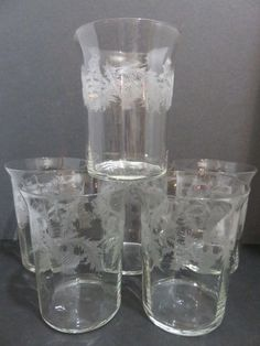 THISTLE Optic Etched Flare Rim Pattern Water or Juice Glass Set of Six #Unknown