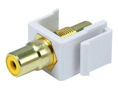 Keystone Jack - Modular RCA w/Yellow Center (White