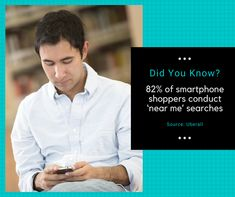 Did You Know? 82 percent of smartphone shoppers conduct 'near me' searches. Fun Fact Friday, Service Quotes, Seo Company, Seo Services, Did You Know, Fun Facts, Smartphone, Funny Facts