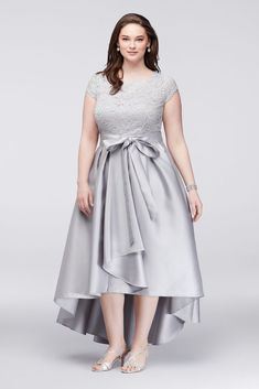 Off-The-Shoulder Lace and Mikado Plus Size Mother of Bride/Groom Dress - Silver, 24W