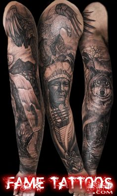 Best Native American black and gray sleeve by Fame Tattoos, Miami… Native Indian Tattoos, Native American Tattoos, Native American Indians, Tribal Tattoos For Women, Trendy Tattoos, Sexy Tattoos, Wolf Tattoos, Geometric Patterns, Detailliertes Tattoo