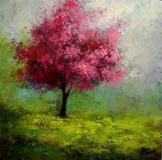 """A Red-bud Tree in the Park"" - Original Fine Art for Sale - © Bob Kimball"