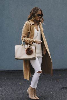 long camel winter coat and YSL purse