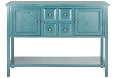 color  and door ideas for buffet to redo. Like the gold knobs too. Possible 4 drawers in the fake front.
