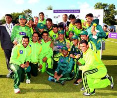 The victorious Pakistan team pose with the series trophy vs Ireland at Dublin, May 26, 2013