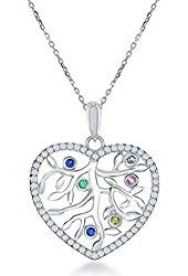 "Sterling Silver CZ Colorful Tree of Life Heart Pendant with 18"" Chain"