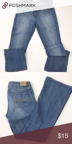 Abercrombie & Fitch Madison light distressed jeans Abercrombie & Fitch / Madison fit light wash bootcut jeans, lightly distressed, cotton/spandex blend so has stretch / size 4 short / waist 15 rise 7 inseam 30.5 Abercrombie & Fitch Jeans Boot Cut