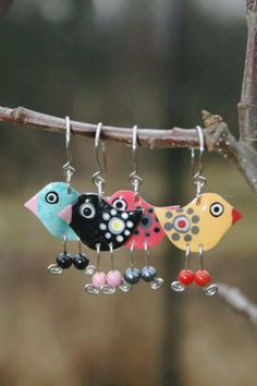 Funny Earrings, Stainless Steel Bird Earrings Whimsical Earrings Whimsical Jewelry Playful Colorful Fun Earrings, Fun Jewelry, Ice-breaker- Pascale G-Mikovic- Enamel Jewelry, Glass Jewelry, Jewellery, Bird Jewelry, Steel Jewelry, Jewelry Crafts, Handmade Jewelry, Shrink Art, Selling Handmade Items