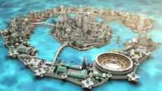 Atlantide Map for Minecraft is an amazing Minecraft map where you can find the wonderfully huge Atlantis City in Minecraft. Minecraft Kingdom, Minecraft Castle, Minecraft Medieval, Minecraft Games, Minecraft Designs, Minecraft Creations, Minecraft Crafts, Fantasy City, Fantasy Castle