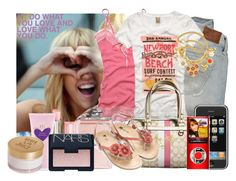 """""""#10/75- Hannah Montana"""" by katie-hope ❤ liked on Polyvore featuring Abercrombie & Fitch, Cyrus, Hollister Co., Coach, Juicy Couture, Christian Dior, Monsoon, Vera Wang and NARS Cosmetics"""