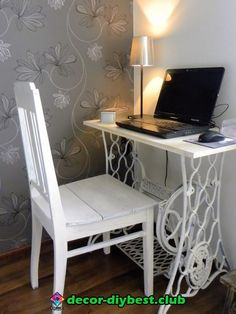 Computer on a sewing machine table - table - . - Computer on a sewing machine table – – - Repurposed Furniture, Home Decor Furniture, Shabby Chic Furniture, Furniture Projects, Furniture Makeover, Painted Furniture, Diy Home Decor, Room Decor, Sewing Machine Tables