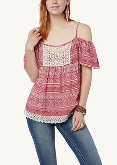 image of Boho Crochet Cold Shoulder Peasant Top