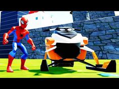 Fat Spiderman Playing in a Custom Park with Jetpacks Snowmobile and Fun ...