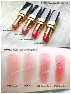 CHANEL Rouge Coco Shine Lipsticks: 48 Evasion, 54 Boy, 62 Monte Carlo, 63 Rebelle