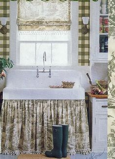French Country Farmhouse Kitchen - Hometalk Styles by vignette design. I especially like the idea of this look in a laundry room or potting shed. French Country Farmhouse, French Country Style, Country Kitchen, Farmhouse Decor, Country Sink, Farmhouse Sinks, French Decor, French Country Decorating, Cosy Living