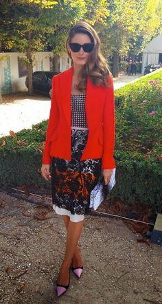 Olivia Palermo wearing orange Dior jacket, houndstooth Dior corset, black, white and orange flower lace Dior skirt and cat-eye Dior sunglasses attends the Christian Dior show as part of the Paris Fashion Week Womenswear Spring/Summer 2014 at Musee Rodin on September 27, 2013 in Paris, France. September 26, 2013 #OliviaPalermo